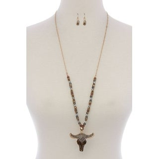 Cattle Skull Rhinestone Pendant Beaded Necklace - Color - Brown