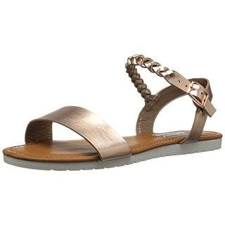 Steve Madden Girls Jmillie Faux Leather Flat Sandals