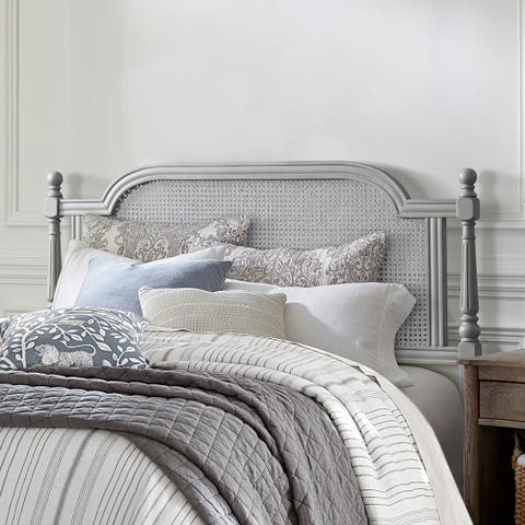 Hillsdale Furniture Melanie Wood and CaneHeadboard without Frame, French Gray