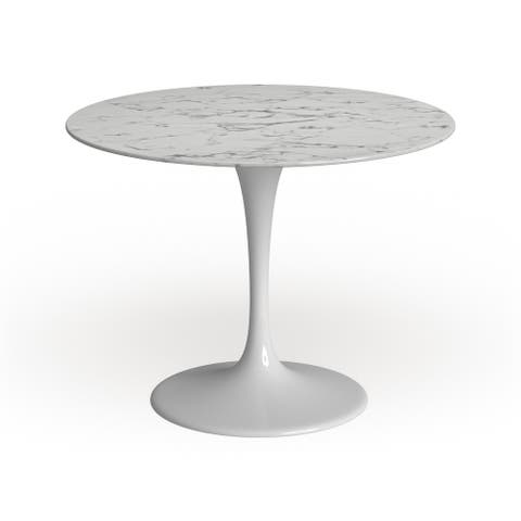 Strick & Bolton Isola Marble Top White 40-inch Dining Table