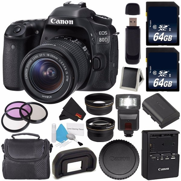 Canon EOS 80D DSLR Camera with 18-55mm Lens 1263C005 (International Version) + 64GB SDXC Class 10 Memory Card Bundle
