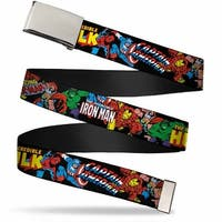 Marvel Comics Blank Chrome Bo Buckle Marvel Characters Stacked W Web Belt