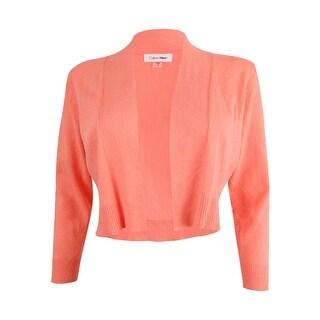 Calvin Klein Women's Petite Long Sleeve Cropped Cardigan - peach
