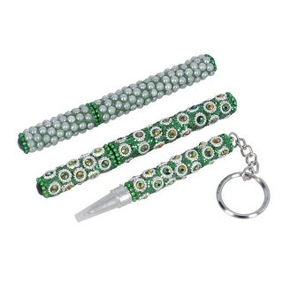 Link to Set of 3 Green Color Sequin Embellishment Pens Key Chain Pearl Pen - Medium Similar Items in Fine Writing Pens