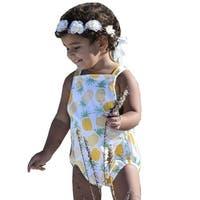 6b0a89cdc9f7 JAEA Kids Little Girls Yellow Criss-Cross Back Penny   Pineapple Romper