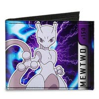 Pok�mon #150 Mewtwo Charged Pose Gray Purples Blues Canvas Bi Fold Wallet One Size - One Size Fits most