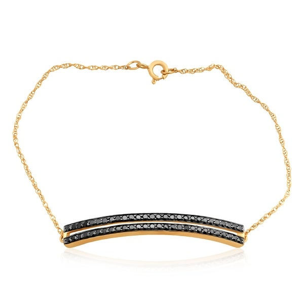 1.14 TCW Black Color Diamond Stylist Chain Bracelet