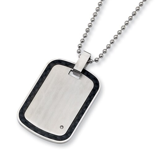 Chisel Black Carbon Fiber, Stainless Steel and Diamond Dogtag on 24 Inch Bead Chain (2 mm) - 24 in