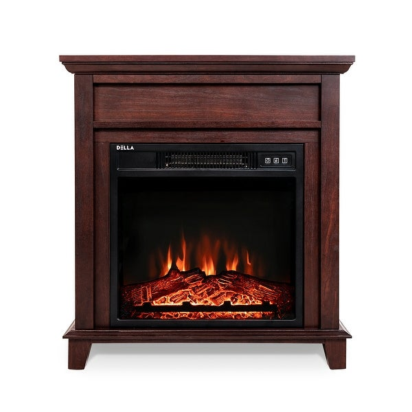 "BELLEZE Electric Fireplace Wood Mantel 18"" Freestanding Heater with Log Hearth Flame Settings and Remote Control, 1400w"