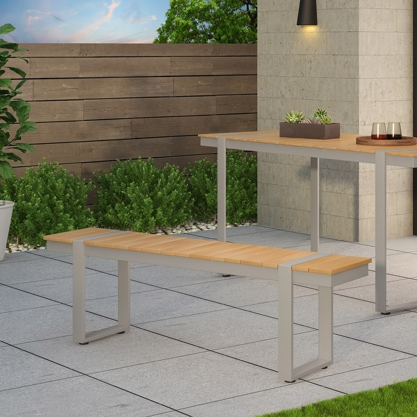 Cibola Outdoor Aluminum Dining Bench by Christopher Knight Home. Opens flyout.