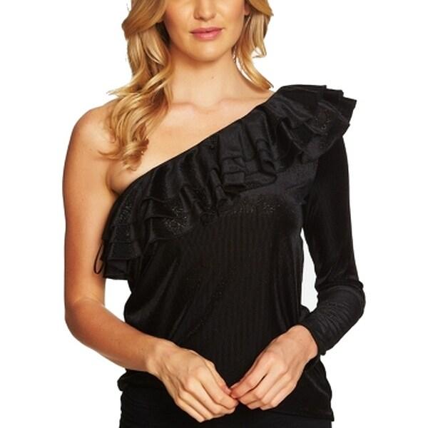 CeCe Black Womens Size Medium M Tiered One-Shoulder Ruffle Top