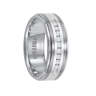 BURGESS Tungsten Wedding Band with Silver Inlay and 9 White Diamonds by Triton Rings - 8mm