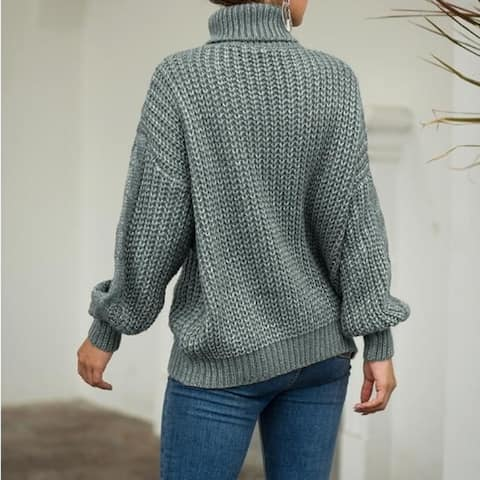 Womens Sweater Turtleneck Long Sleeve Chunky Knit Pullover Sweater Tops