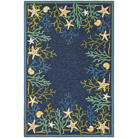 Picadilly Coral Reef Blue-Green Indoor/ Outdoor Area Rug
