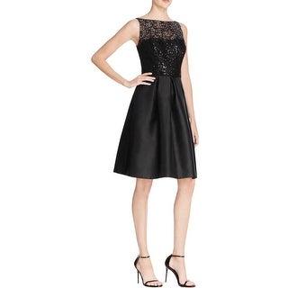 Carmen Marc Valvo Womens Cocktail Dress Beaded Lace - 8