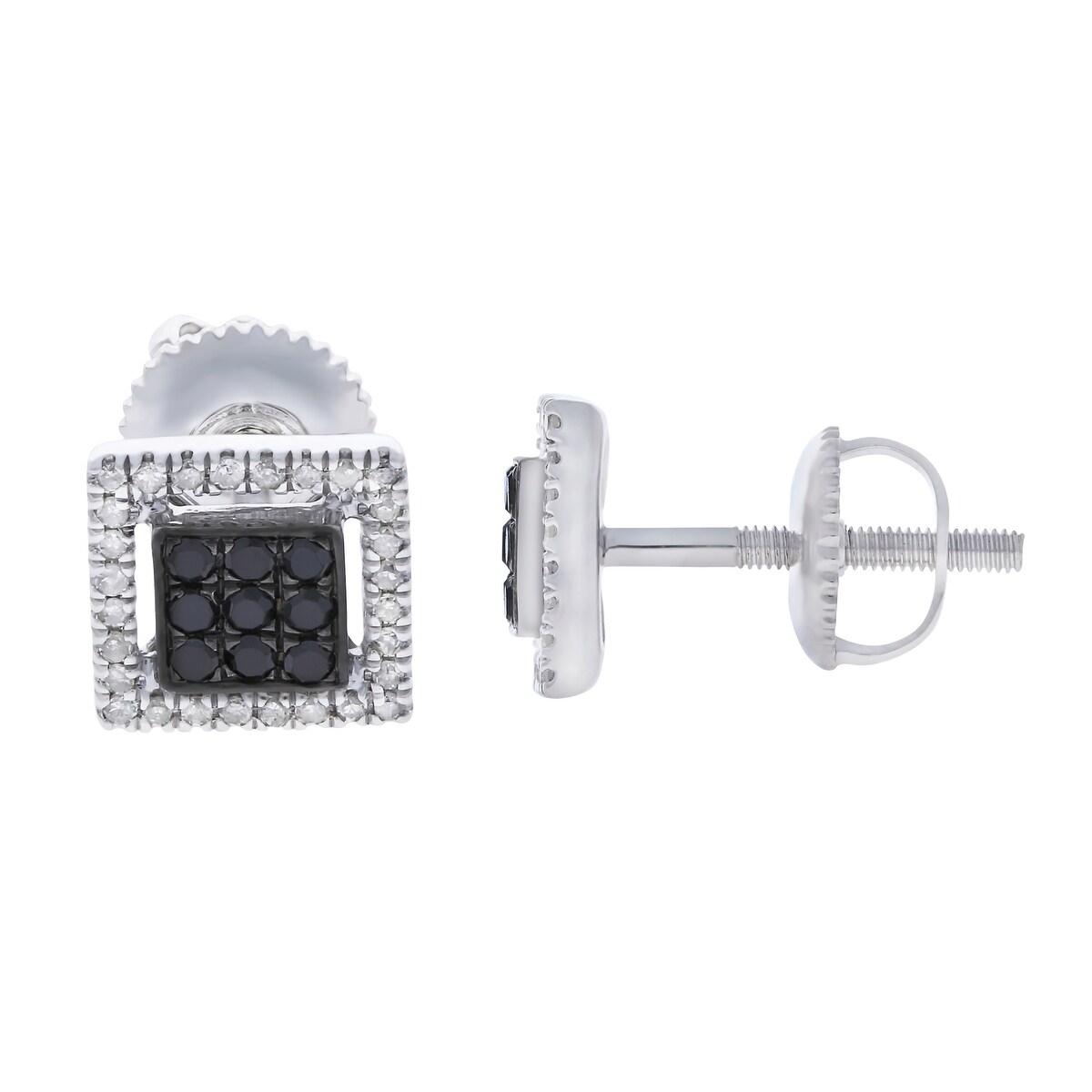 Prism Jewel 0.30Ct Black Color Diamond & White Diamond Screw Back Earring - White H-I - Thumbnail 0