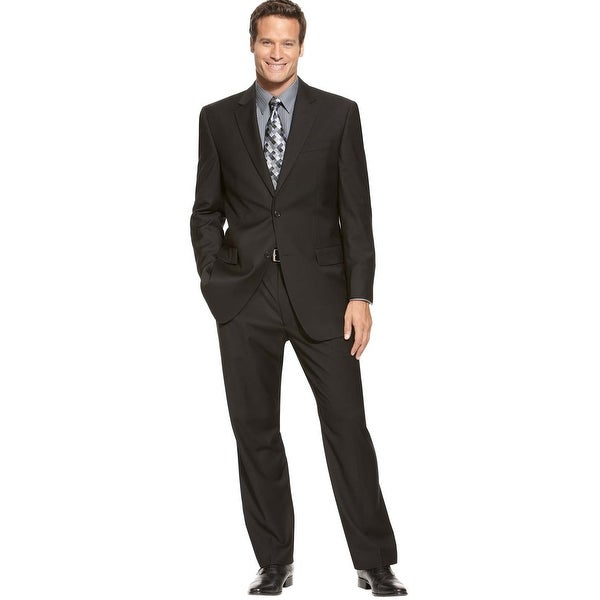 IZOD Mens Solid Black 2-Buttons Suit 38R Pleated Pants 31W