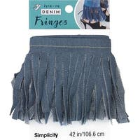 "Medium - Simplicity Denim Iron-On Fringe 4""X42"""