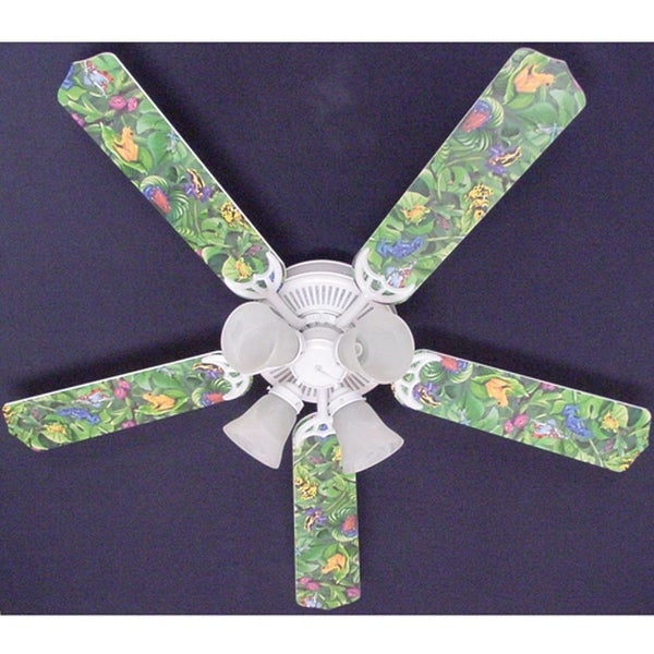 Jungle Tree Frogs Print Blades 52in Ceiling Fan Light Kit - Multi