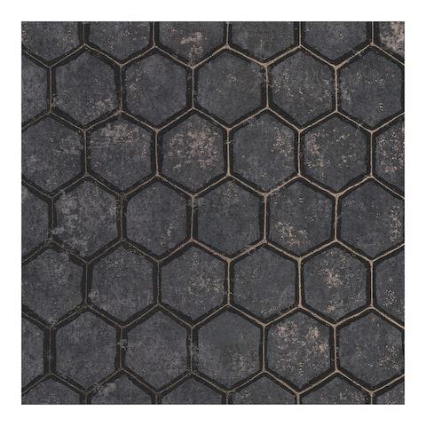 Starling Charcoal Honeycomb Wallpaper - 27.5 x 396 x 0.025