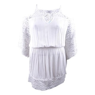 Link to Raviya Women's Lace-Insert Cold-Shoulder Dress Swim Cover-Up (XL, White) - White - XL Similar Items in Swimwear