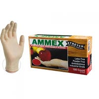 AMMEX IVSPF Ivory Stretch Synthetic Vinyl Industrial Powder Free Disposable Gloves (Box of 100)