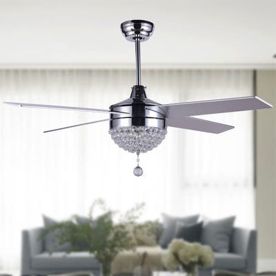 """48"""" Dimmable Crystal Ceiling Fan With LED Light, Remote, Reversible - 48"""