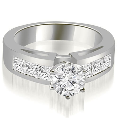 1.75 cttw. 14K White Gold Channel Set Princess Cut Diamond Engagement Ring
