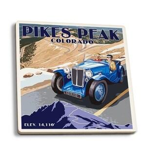 Pikes Peak, CO - Auto Road Scene - LP Artwork (Set of 4 Ceramic Coasters)