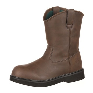 "Georgia Boot Work Boys 7"" Pull On Lightweight Manmade Upper Brown G100"
