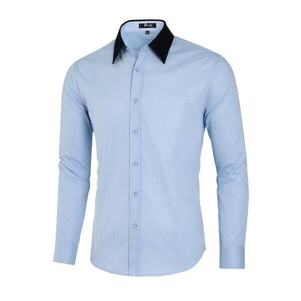 Men Casual Button Down Shirts Long Sleeve Fashion Slim Fit Dress Shirt -  Light Blue - Overstock - 28392829