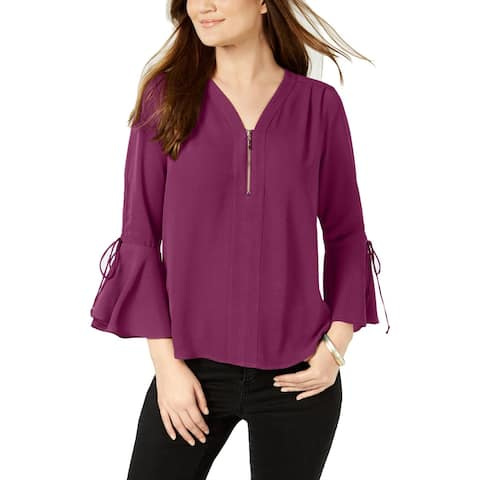 NY Collection Womens Petites Blouse Pintuck Bell Sleeves