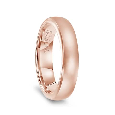 14k Rose Gold Satin Finish Womens Flat Wedding Band by Diana - 5.5mm