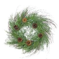 "30"" Mixed Cedar Pine Cone and Juniper Berry Artificial Christmas Wreath - Unlit - green"