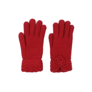 Womens Rose Winter Gloves Lined