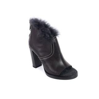 Brunello Cucinelli Womens Fur Lined Monili Open Toe Boots