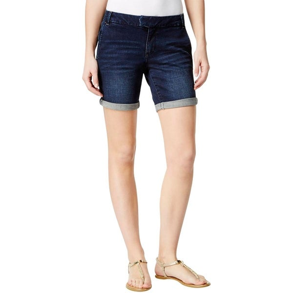 Nanette Lepore Womens Walking Shorts Whisker Wash Button-Zip Fly