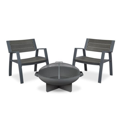 Real Flame 9581 Anson Wood Burning Free Standing Fire Pit and Two