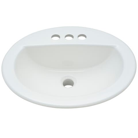 "PROFLO PF19164 19"" Self Rimming Oval Bathroom Sink - White"