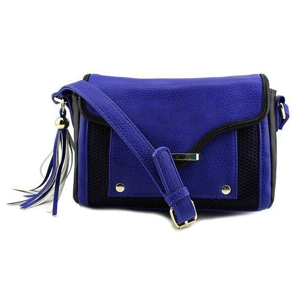 Poverty Flats Mesh Detail Large X Cross Body Women Synthetic Messenger - Blue