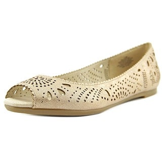 Easy Spirit Jenifry Women W Peep-Toe Canvas Brown Flats