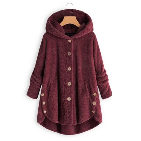 6ac440b3a Shop Women Winter Warm Loose Hooded Coat Faux Fur Button Pockets ...