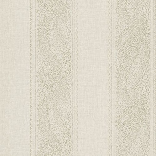 Brewster 2618-21327 Arcades Taupe Paisley Stripe Wallpaper
