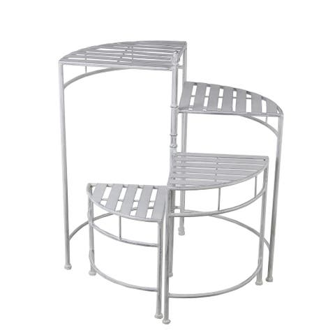 4-Tier Adjustable White Metal Plant Stand