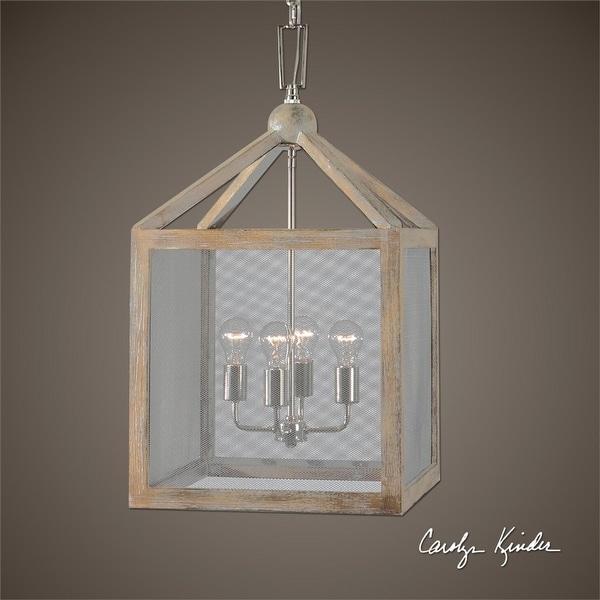 29 Carolyn Kinder Gray Taupe Wash Wooden Lantern 4 Bulb Pendant Ceiling Light Fixture
