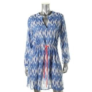 Shoshanna Womens Printed V-Neck Dress Swim Cover-Up