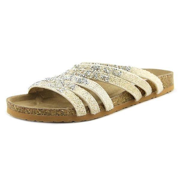 Not Rated Very Bushey Women Open Toe Synthetic Ivory Slides Sandal