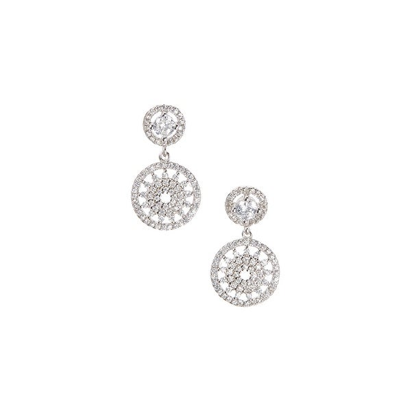 925 Sterling Silver Halo Drop Earrings with Cubic Zirconia