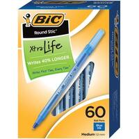 BIC Round Stic Ballpoint Pen, 1 mm Medium Tip, Blue Ink, Pack of 60