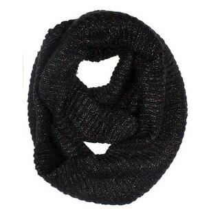 Women's Neck Wrap Warmer Knit Metallic Infinity Loop Scarf - Black